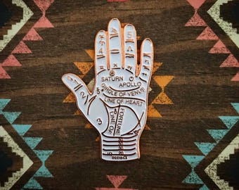 Rose Gold and White Palmistry pin