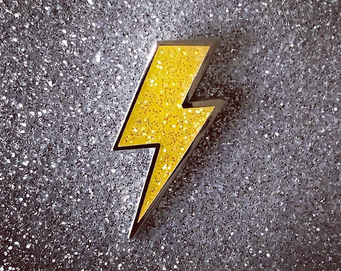 Lighting Bolt Pin - Yellow Glitter