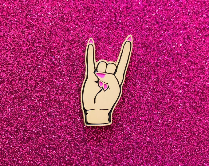 Devil Horns Pin - Gold w/ Pink Nails