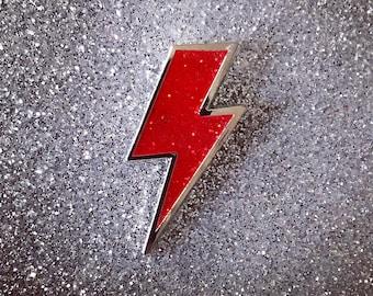 Lighting Bolt Pin - Red Glitter