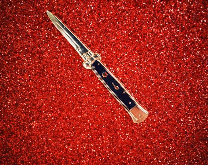 Black & Gold Switchblade Pin