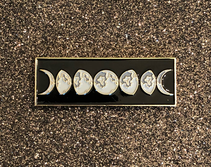Moon Phases Pin - Gold & Black