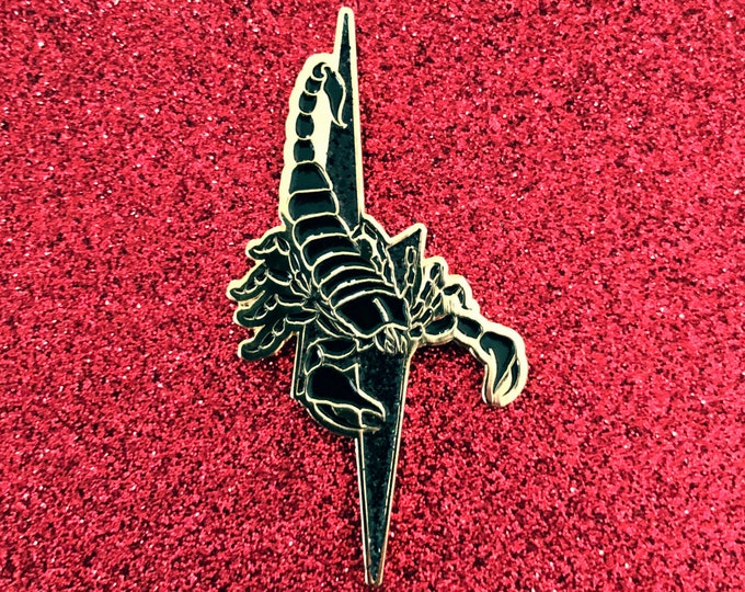 Scorpion Pin w/ Black Glitter Lightning Bolt