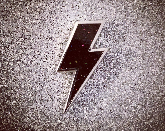 Lighting Bolt Pin - Black Glitter & Silver