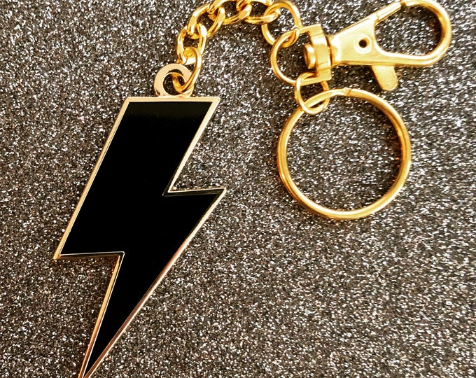 Lightning Bolt Keychain - Black & Gold