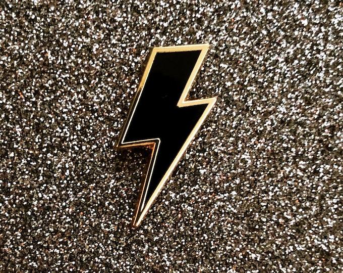 Lighting Bolt Pin - Black & Gold