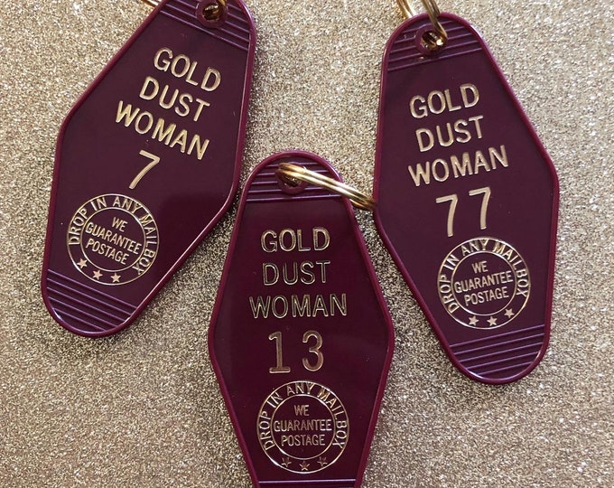 Gold Dust Woman Vintage Hotel Keychain - Deep Red