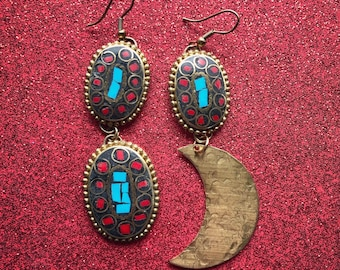 Vintage Coral & Turquoise Earrings