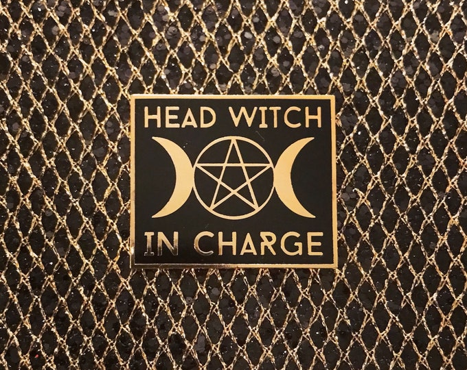 Head Witch In Charge Pin - Gold & Black