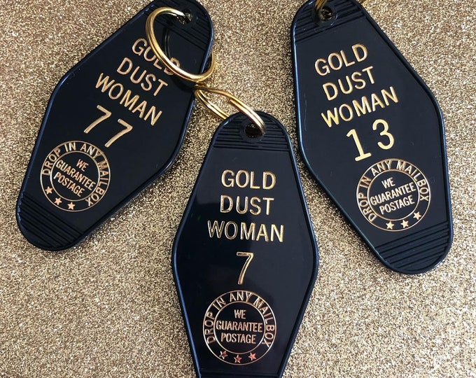 Gold Dust Woman Vintage Hotel Keychain - Black
