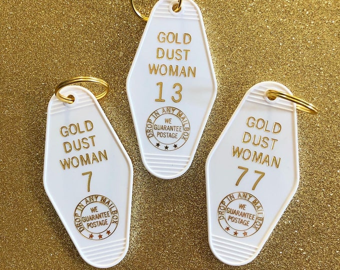 Gold Dust Woman Vintage Hotel Keychain - White