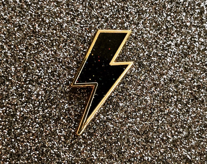 Lighting Bolt Pin - Black Glitter & Gold