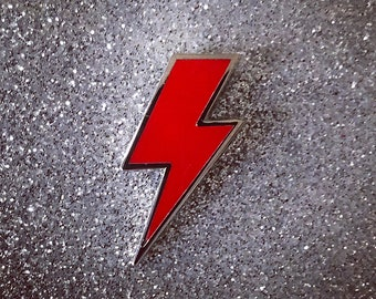 Lighting Bolt Pin - Solid Red & Silver