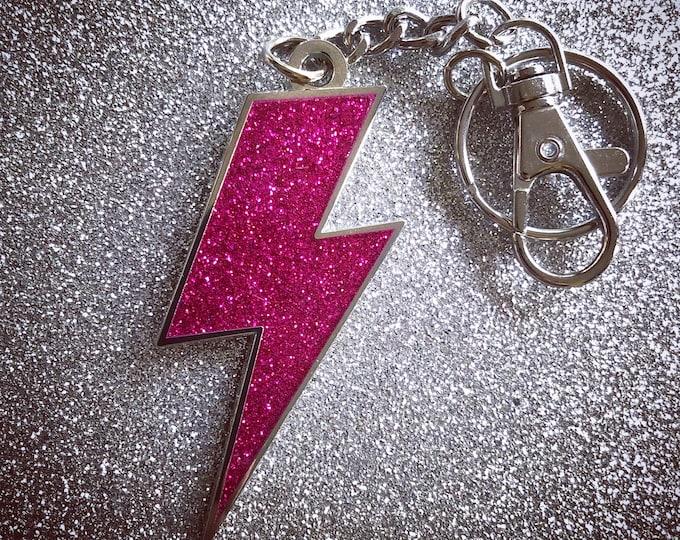 Lightning Bolt Keychain -   Pink Glitter & Silver