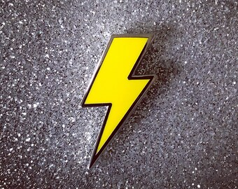 Lighting Bolt Pin - Solid Yellow & Silver