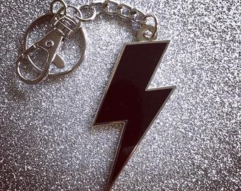 Lightning Bolt Keychain - Solid Black & Silver