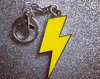 Lightning Bolt Keychain - Solid Yellow & Silver