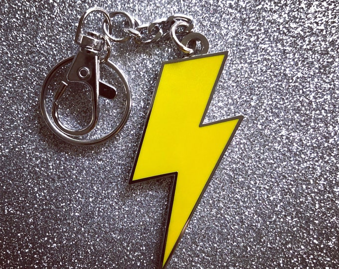 Lightning Bolt Keychain - Solid Yellow & Silver