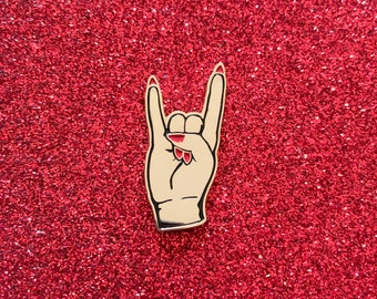 Devil Horns Pin - Gold w/ Red Nails