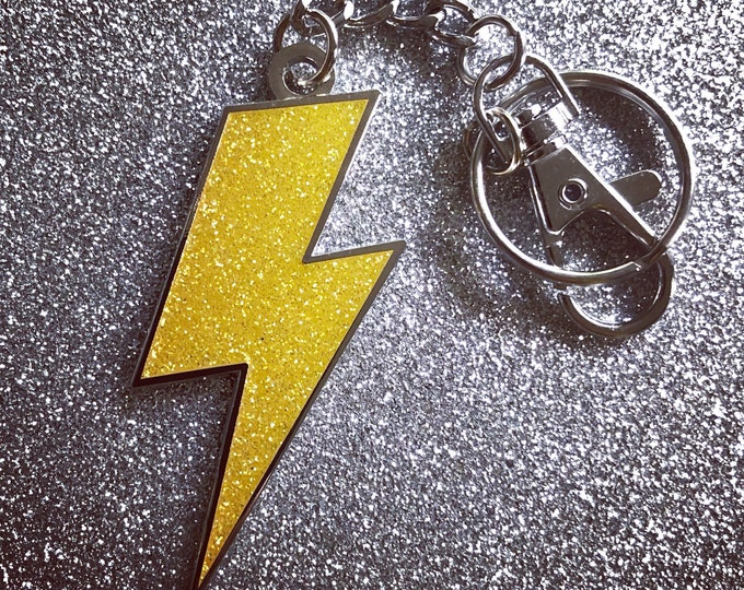 Lightning Bolt Keychain -   Yellow Glitter & Silver