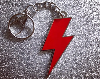 Lightning Bolt Keychain - Solid Red & Silver
