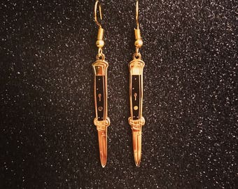Black & Gold Switchblade Earrings