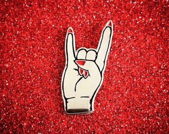 Devil Horns Pin - Silver w/ Red Nails