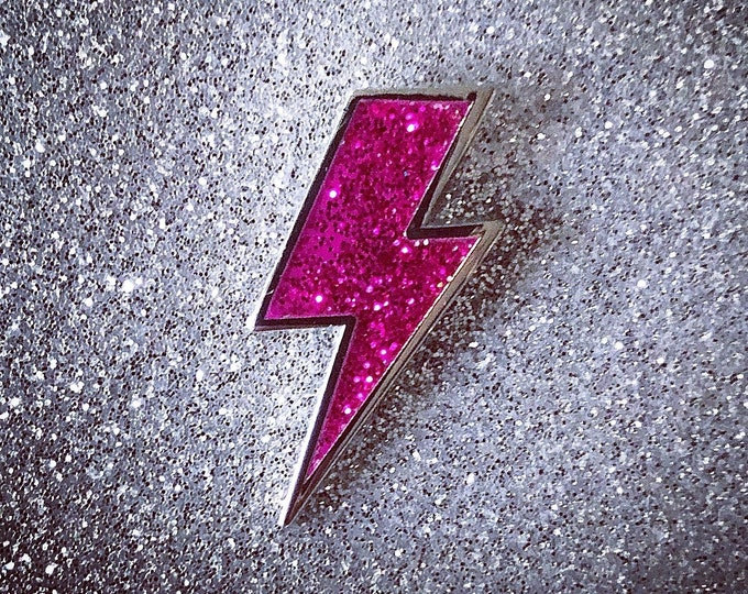 Lighting Bolt Pin - Pink Glitter