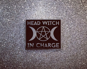 Head Witch In Charge Pin - Silver & Black