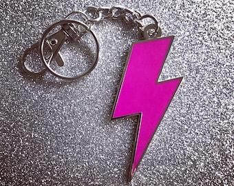 Lightning Bolt Keychain - Solid Hot Pink & Silver