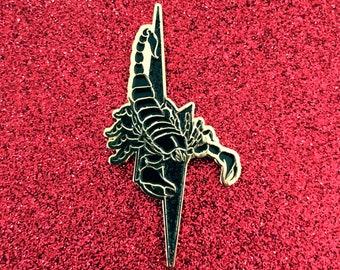 Scorpion Pin w/ Black Glitter Lightning Bolt