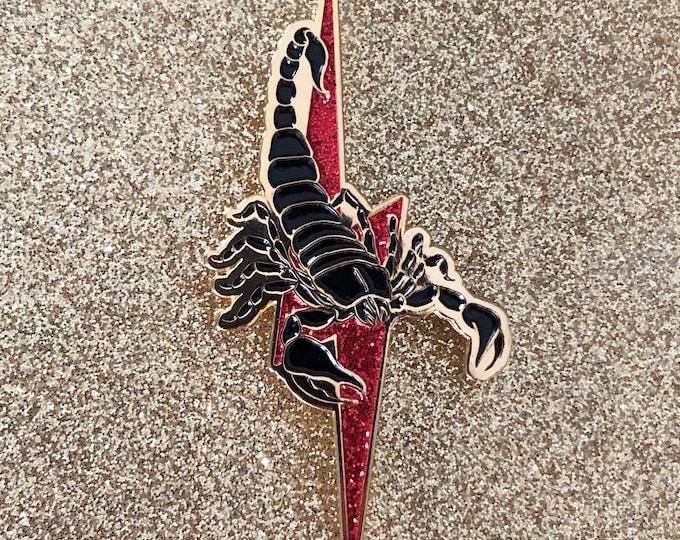 Scorpion Pin w/ Red Glitter Lightning Bolt