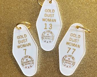 Gold Dust Woman Vintage Hotel Keychain - White