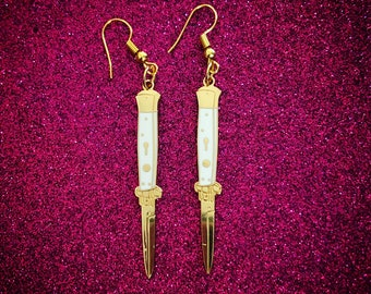 White & Gold Switchblade Earrings