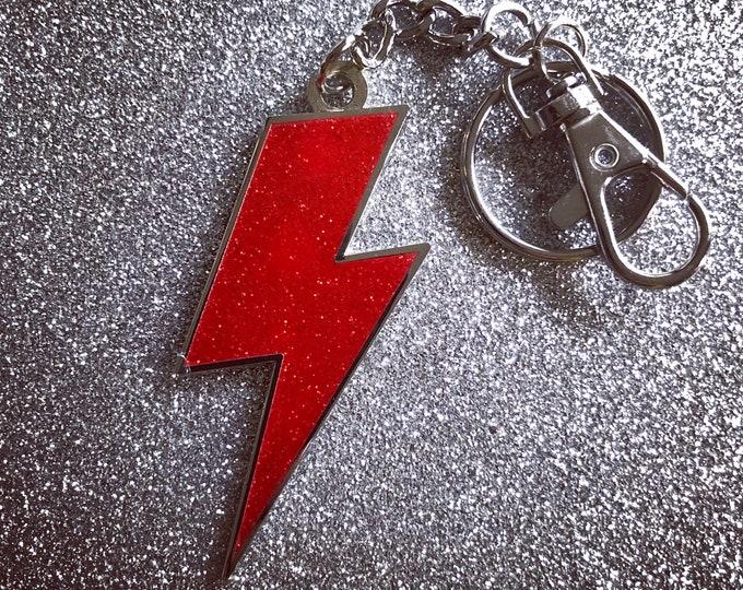 Lightning Bolt Keychain -   Red Glitter & Silver