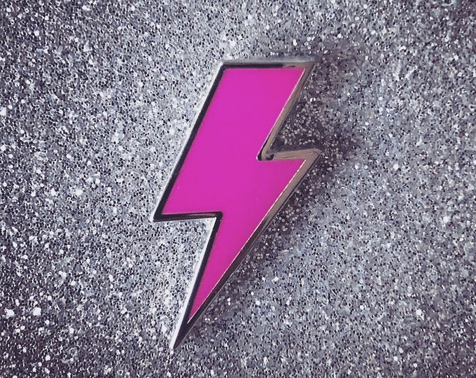 Lighting Bolt Pin - Solid Pink & Silver