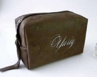 Brown Men's Dopp Kit, Monogram Groomsman Toiletry Bag, Best Man Gift, Travel Bag, Shaving Bag, Men Gift Ideas, Hanging, Personalized Men Bag