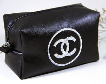 8cfb4514acd1 Inspired Chanel make up bag, Gold or silver embroidery Chanel logo, custom cosmetic  bag, Vegan Leather Bridesmaid Gifts