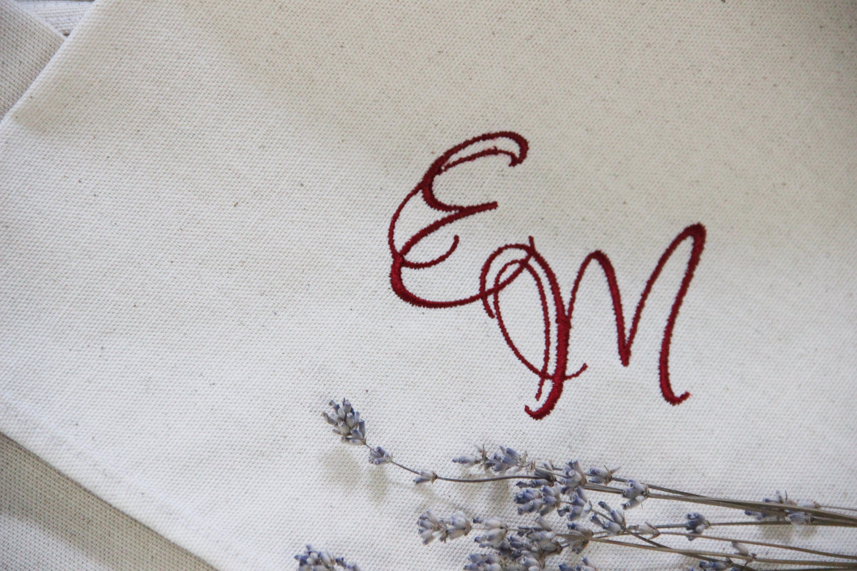 Natural Cotton 6 Wedding Napkins Custom Embroidered Napkins Etsy