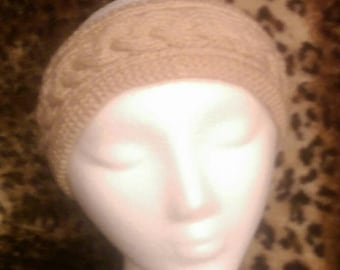 Beige Cabled Knit Headband