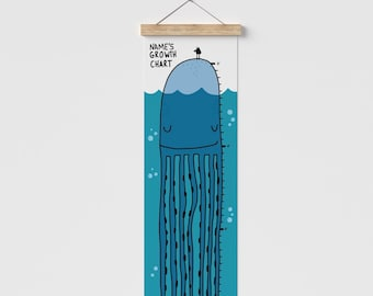 Baby Octopus Growth Chart. Personalized Sea Animal Canvas Height Chart. Ocean Art Ruler