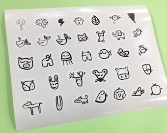 Animals Mini Doodle stickers. Black and white. Bottle, laptop and car decals. Sticker activity for toddlers. Illustrations by vivibambina.