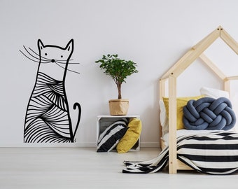 Meow, funny cat custom Wall decal for Girls & Boys room, Wall art decor. Bedrooms decorations. Nursery art.