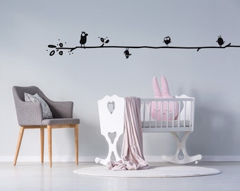 Birds on a tree Wall decal for kids room. Funny and minimal birds wall art. Keep the distance concept. Daycare wall decor