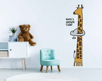 Personalized Giraffe Growth Chart for kids. Self Adhesive Wall Decal Sticker. Unique toddler gift
