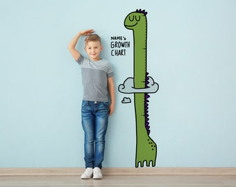 Personalized Height Chart for kid. Dinosaur Wallpaper. Growth Chart ruler. Animal Wall Decal. Art Mural