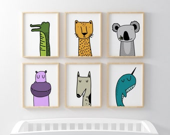 Animals colorful Posters. Safari, pets and ocean animal art. Individual Digital Prints, Nursery Decor. Wall art for babies and toddlers room