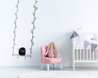 Cute Bird on Swing WallDecal for Girls & Boys room. Minimal bird art for kids. Nursery decoration. Bedroom wallpapers
