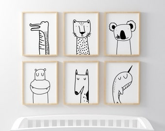 Unique Animal Illustrations Nursery Posters in Black & White.
