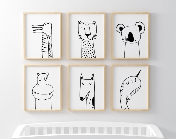Featured listing image: Unique Animal Illustrations Nursery Posters in Black & White.